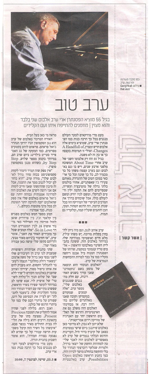 Tel-Aviv News 23/3/2012, By Ahser Kesher